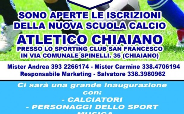 Scuola calcio Atletico Chiaiano, venerdì 13 luglio lo stage alle 17.30