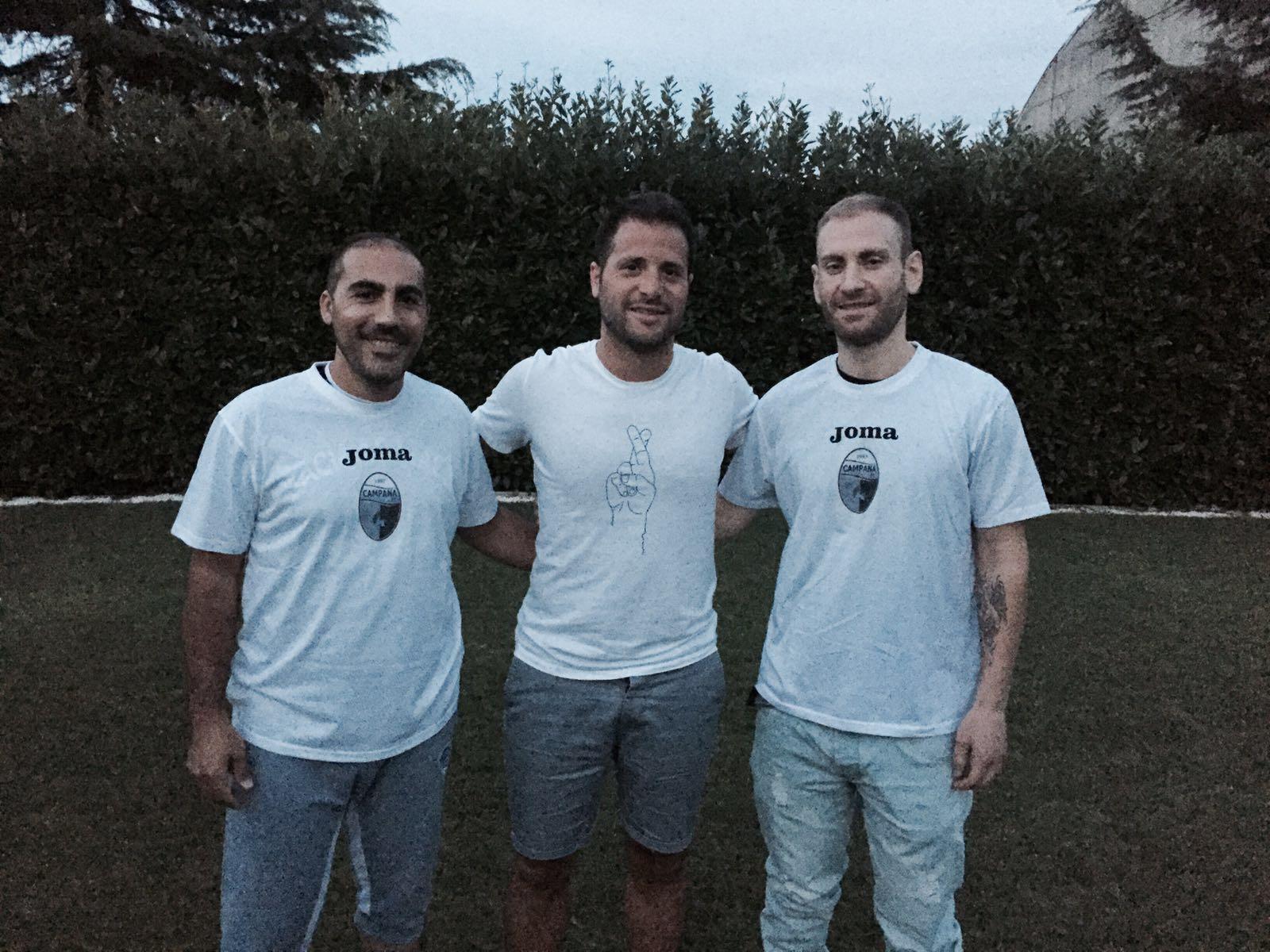 Nelle foto: a sinistra Mister Vincenzo Ficociello, al centro il team manager Salvatore Passariello, a destra l'allenatore in seconda Valentino Saracino