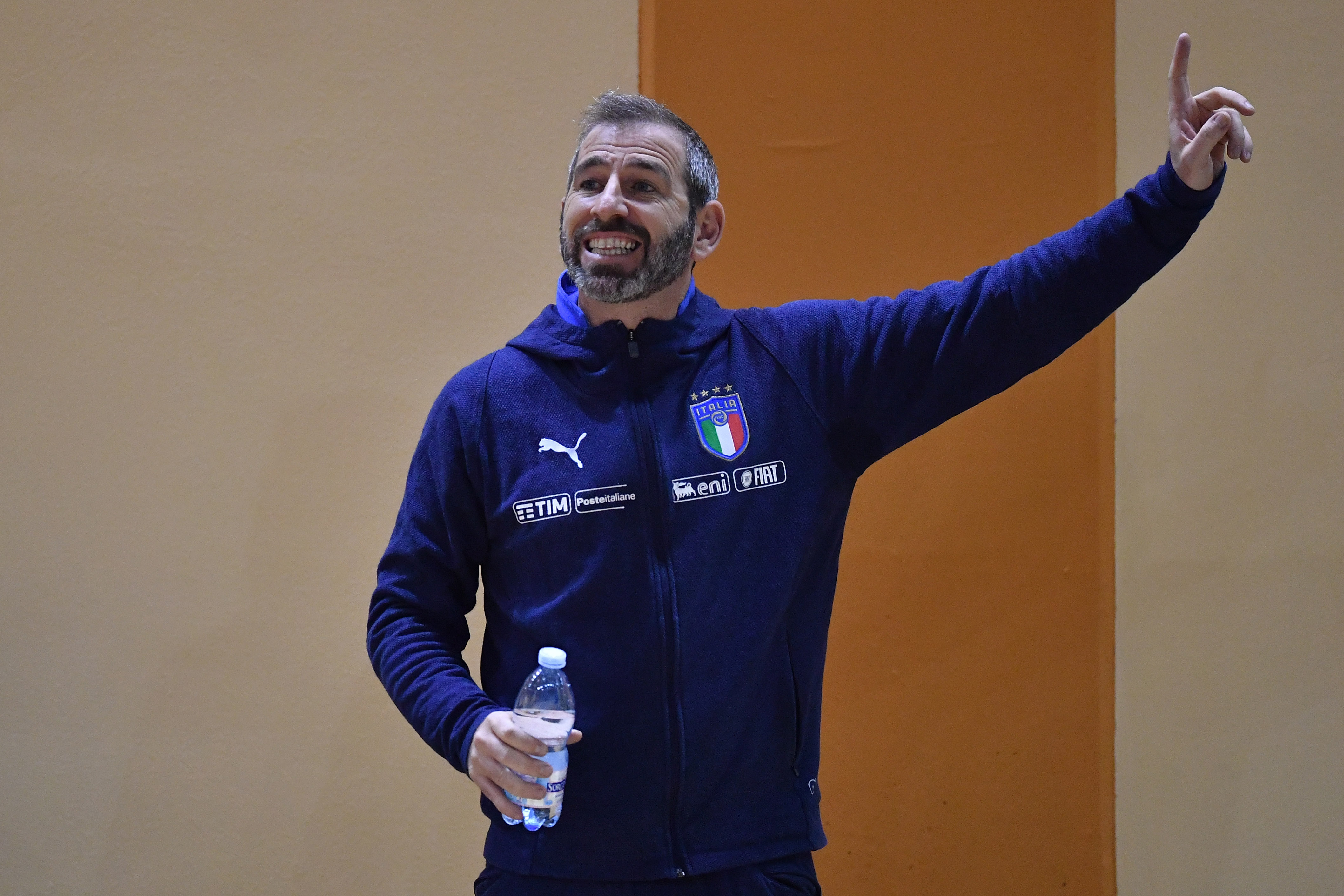 NOVARA, ITALY - JANUARY 31:  Italy head coach Alessio Musti looks on during the Futsal Friendly Match between Italy v Lecco at Novarello Training Center on January 31, 2019 in Novara, Italy.  (Photo by Valerio Pennicino/Getty Images)