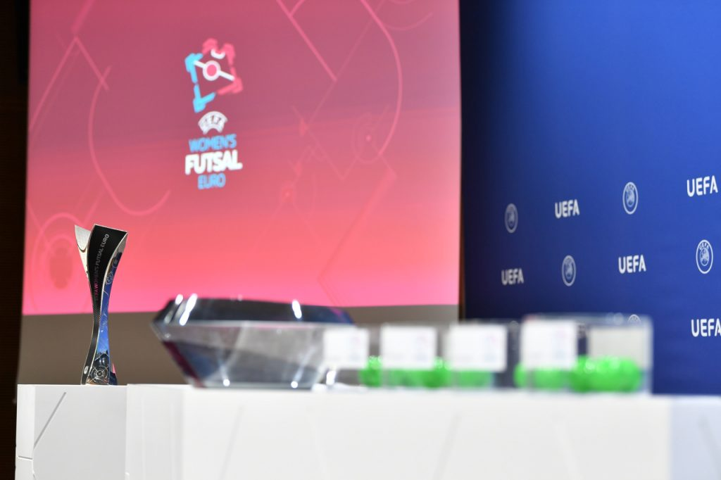 NYON, SWITZERLAND - FEBRUARY 13: A detailed view of the draw cards, pots and balls during UEFA Women's Futsal EURO 2021 Qualifying draw on February 13, 2020 in Nyon, Switzerland. (Photo by Harold Cunningham - UEFA/UEFA via Getty Images)