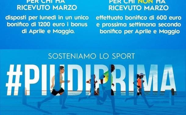 Bonus Collaboratori Sportivi, disposti i bonifici per marzo, aprile e maggio: le info